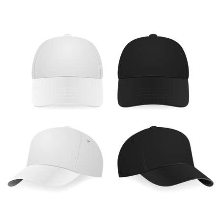 Set of two realistic white and black baseball caps isolated on white background. Vector illustration.