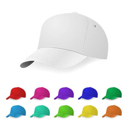 pink cap: Set of realistic baseball cap templates.