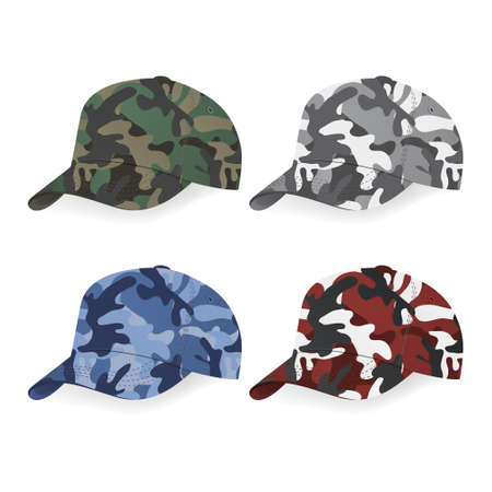 Set of Military caps with camouflage pattern. Illustration