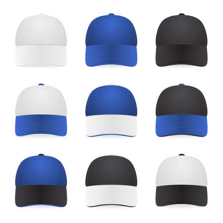 branded: Set of nine two-color caps - with white, blue and black colors. Vector EPS10 illustration. Illustration