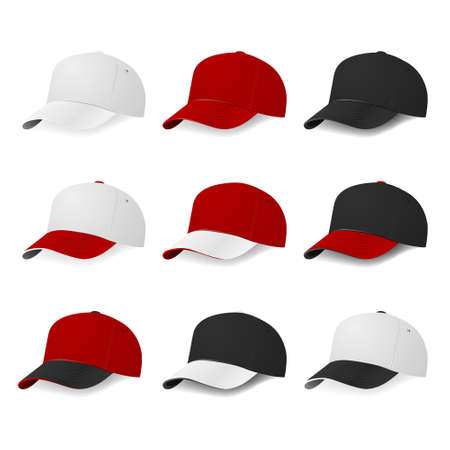 printing logo: Set of nine two-color baseball caps with white, red and black colors isolated on white background. Vector  illustration. Illustration