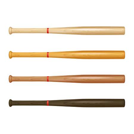 baseball bat: Set of realistic wooden baseball bats on white background. Vector EPS10 illustration.