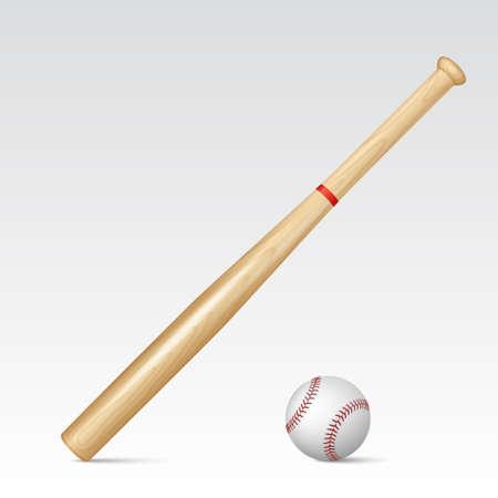 baseball bat: Baseball bat and baseball. Vector EPS10 illustration.