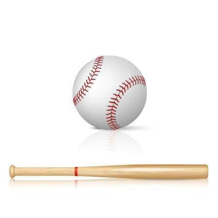Realistic baseball bat and baseball with reflection on white background Çizim