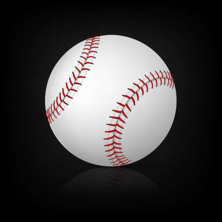 Béisbol realista sobre fondo negro con la reflexión. Ilustración vectorial EPS10.