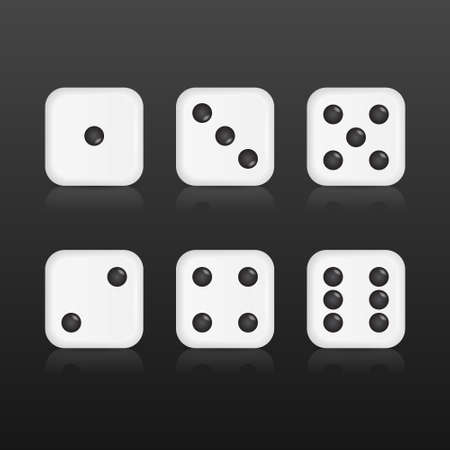 backgammon: Six realistic dices with with reflections on black background. Vector EPS10 illustration. Illustration