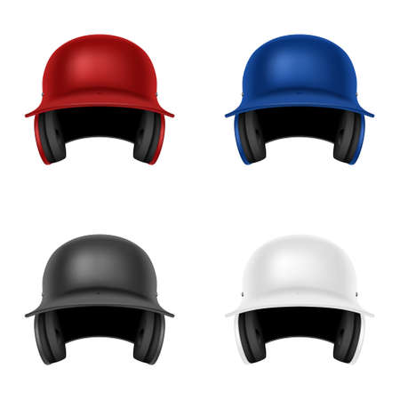Set of four realistic colorful baseball helmets. Isolated on white. Vector  illustration. Vector