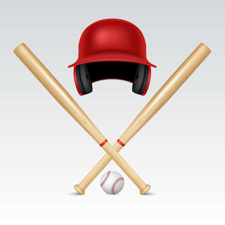 baseball pitcher: Realistic baseball equipment - helmet, baseball bats and baseball. Background. Vector EPS10 illustration. Illustration