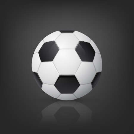 soccerball: Traditional style realistic soccer ball on black background. Vector  illustration.