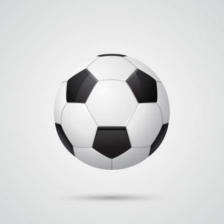 ballsport: Glossy three-dimensional soccer ball. Vector  illustration.