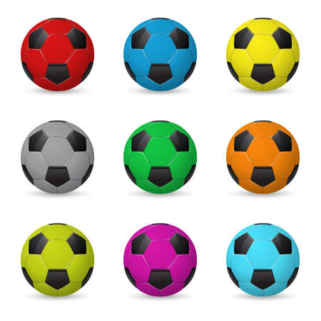 soccer world cup: Set of nine colored vector soccer balls isolated onwhite background. Vector  illustration.