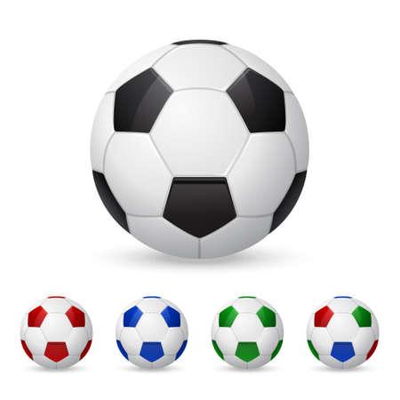 pelota de futbol: Conjunto de balones de f�tbol olorful tridimensionales. Aislado en blanco. Ilustraci�n del vector.