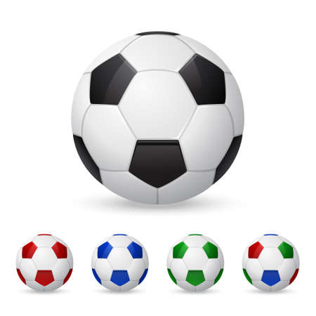 Set of three-dimensional olorful soccer balls. Isolated on white. Vector  illustration.