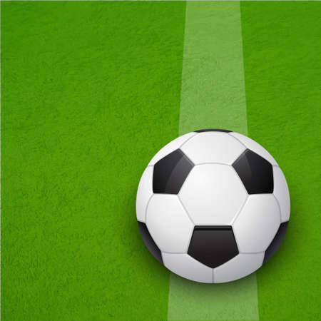 Soccer ball on the soccer field. Vector