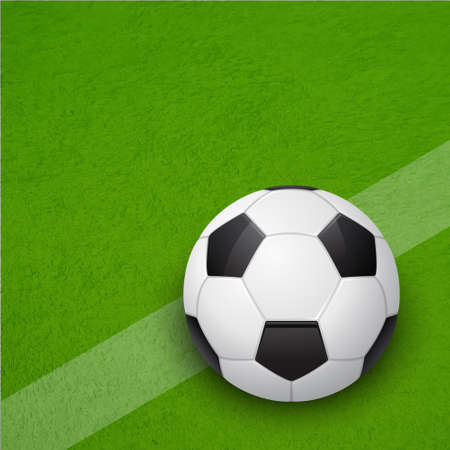 Glossy soccer ball on the field.  Vector