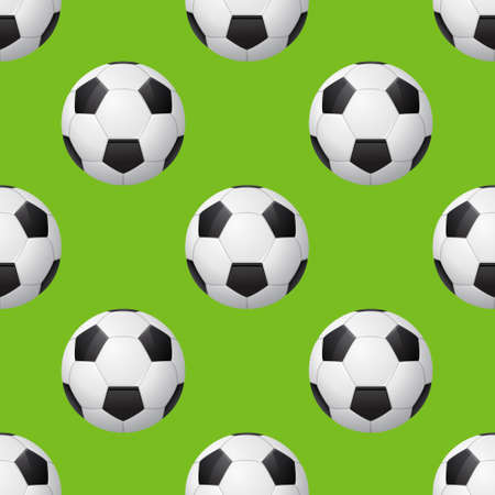Seamless soccer pattern with soccer balls on green background.