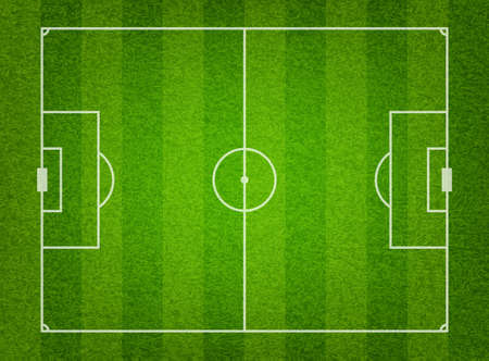 footballs: Green grass soccer field background.  Illustration
