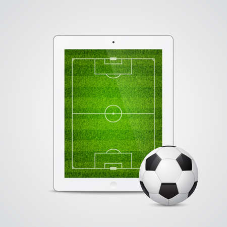 assign: Modern white tablet with a soccer ball and field on the screen. Isolated on white background.