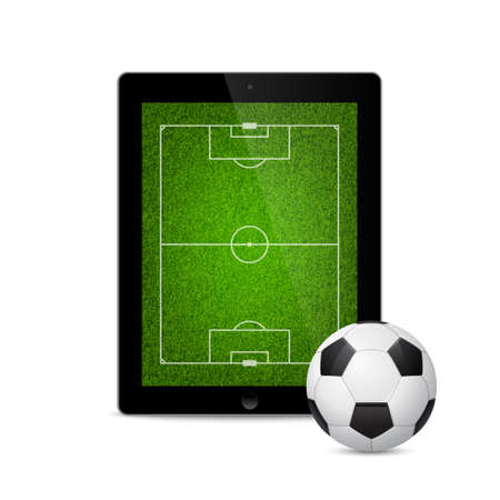 assign: Modern tablet with a soccer ball and field on the screen. Isolated on white background. Vector EPS10 illustration.