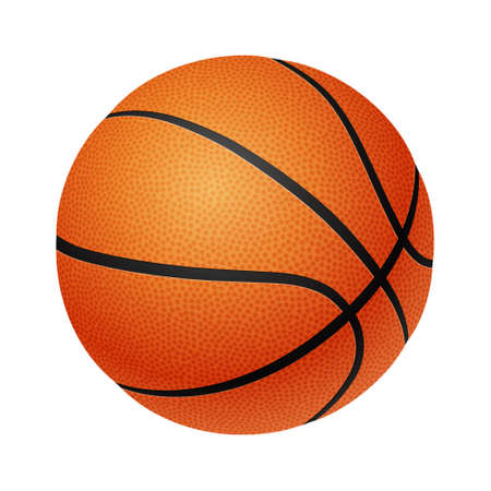 Three-dimensional basketball isolated on a white background. Vector illustration.