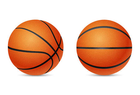 threedimensional: Two three-dimensional basketballs, front and half-turn view, isolated on white background.   Illustration