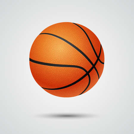 threedimensional: Three-dimensional single basketball on light background.