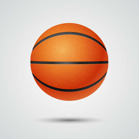 threedimensional: Three-dimensional single basketball in front view on a light background.