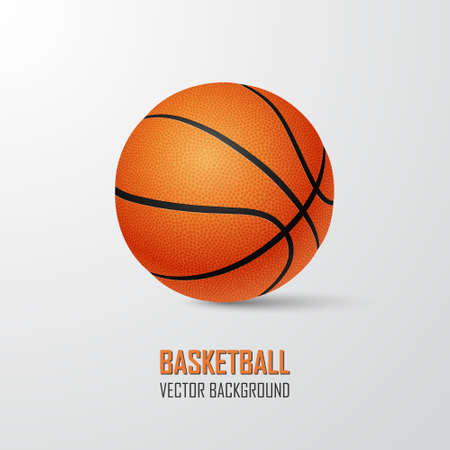 international basketball: Basketball background with place for text- single ball on a light background.