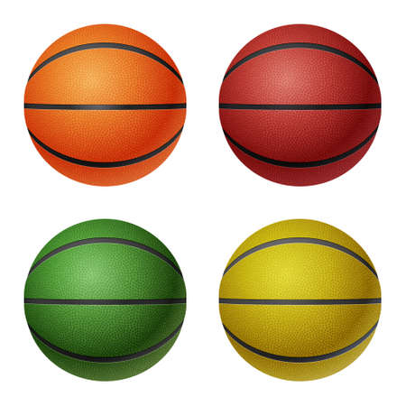 basketballs: Set of four isolated on white basketballs - orange, red, green, yellow.  Illustration
