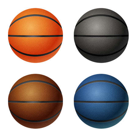 basketballs: Set of four isolated on white basketballs - orange, black, brown, blue.