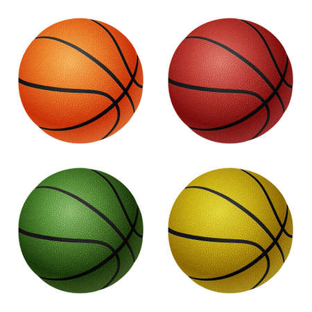 basketballs: Set of four isolated on white basketballs - orange, red, green, yellow.