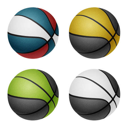 basketballs: Combinated color basketballs. Isolated on white background.  Illustration
