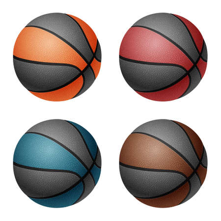 basketballs: Combinated color basketballs. Isolated on white background.