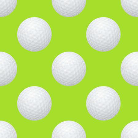 putter: Golf balls. Seamless pattern on a green background.