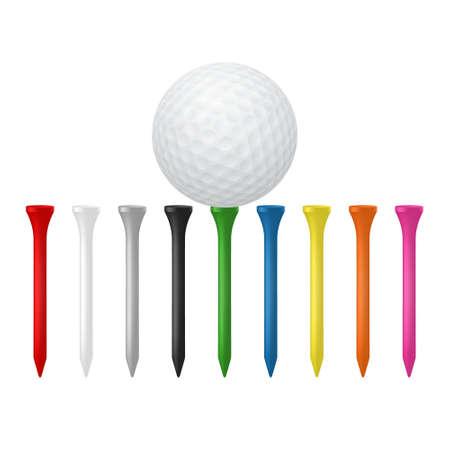 golf  ball: Golf set - bola con tees. Ilustración vectorial EPS10.