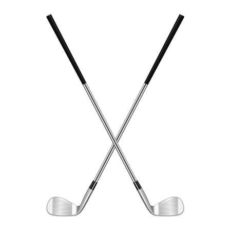 Dos palos de golf cruzadas realistas 3D aislados en blanco. Ilustración vectorial EPS10.