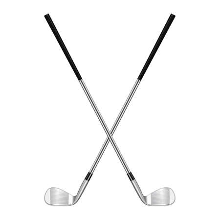 Twee 3d realistische gekruiste golfclubs geïsoleerd op wit. Vector EPS10 illustratie.