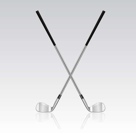 cross match: Two 3d realistic crossed golf clubs with reflection. Vector EPS10 illustration.