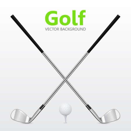 Golf achtergrond - Twee gekruiste golfclubs en bal op T-stuk.
