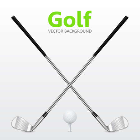 Golf background - Two crossed golf clubs and ball on tee.