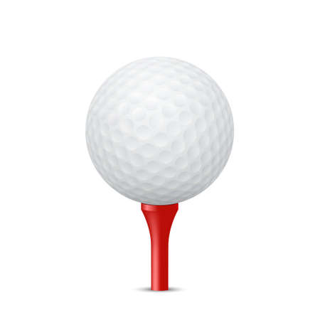 tees: Golf ball on a red tee, isolated. Vector  illustration. Illustration