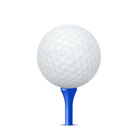 3d ball: Golf ball on a blue tee, isolated. Vector EPS10 illustration. Illustration