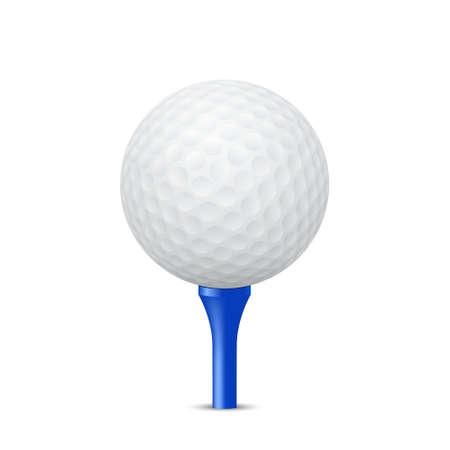 pelota: Pelota de golf en una camiseta azul, aislado. Ilustración vectorial EPS10.