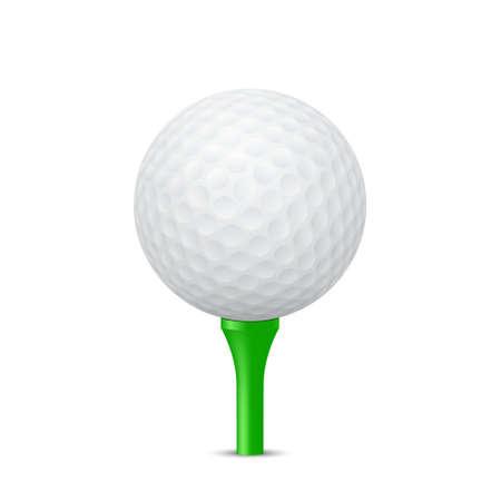 Golf ball on a green tee, isolated. Vector  illustration.