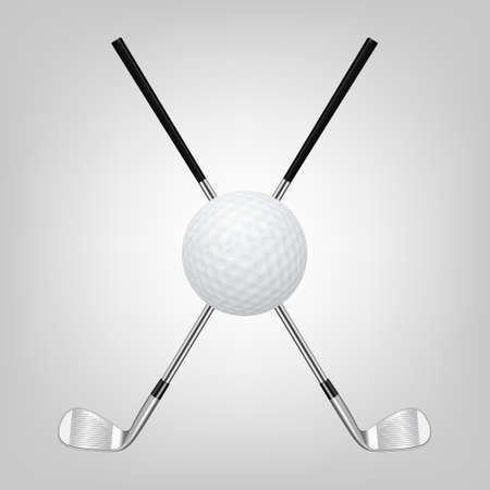 3d realistic golf ball and two crossed golf clubs. Vector illustration.