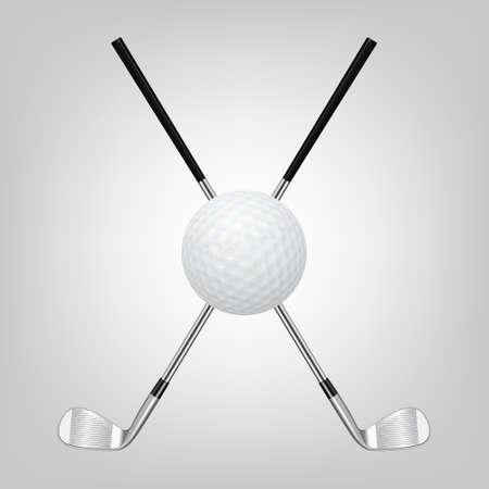 3d realistische golfbal en twee gekruiste golfclubs. Vector illustratie.