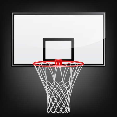 Basketbalrugplank met hoepel op een zwarte achtergrond. Vector EPS10 illustratie.