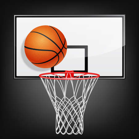 Realistic basketball backboard and flying ball on a black background. Vector EPS10 illustration.