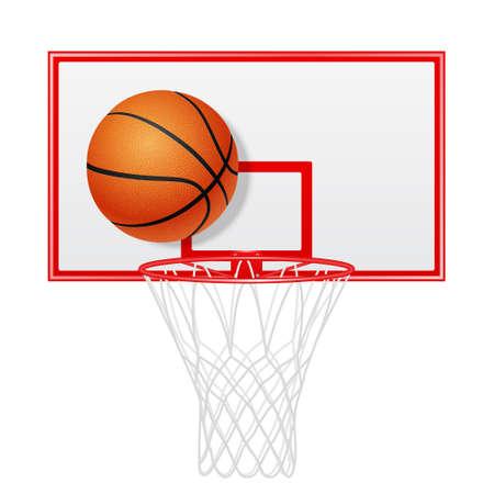 backboard: Red basketball backboard and ball. Isolated. Vector EPS10 illustration.