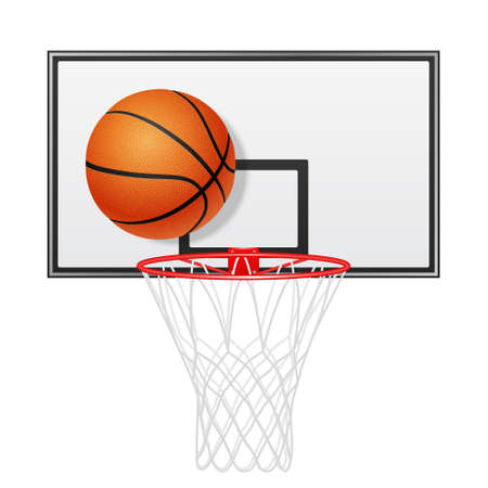 backboard: 3d realistic basketball backboard and ball. Isolated on white. Vector EPS10 illustration.